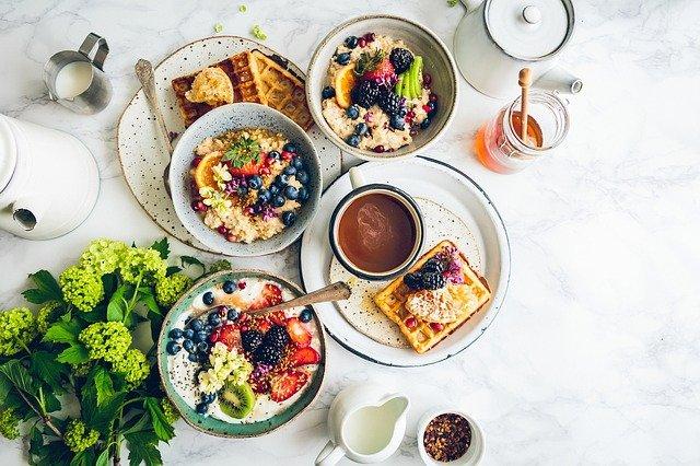 Food, Breakfast, Table, Healthy, Green, Milk, Honey